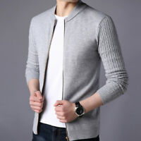 Spring Men's Slim Fit Knitted Zipper Cardigan Sweater Long Sleeve Outwear Coat