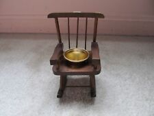Small Miniature Rocking Chair Flower Pot - Decorative Wood Planter - Vintage