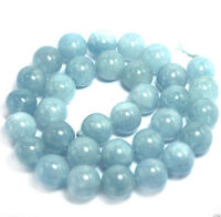"8mm Natural Aquamarine Round Genuine Gemstone Loose Beads 15"" Strand AAA"