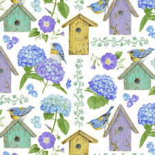 Hydrangea bird song Houses 1757 color 17 white Durable Cotton Henry Glass Fabric