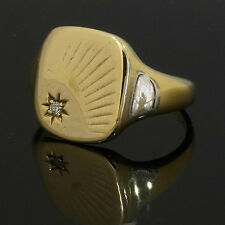 9Carat Yellow Gold Star Diamond Signet Ring (Size Q) 12x14mm Head