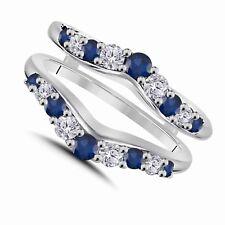 Diamond & Sapphire Chevron Style Ring Guard Ring Enhancer 14k White Gold Finish