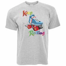 Vintage Skating T Shirt Keep On Rolling Pun Joke Derby Girls Roller Skates