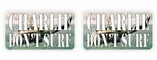 Charlie Don't Surf Apache Helicopter Sticker Decal Apocalypse Now surfing Army