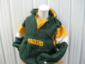 VINTAGE STARTER NFL GREEN BAY PACKERS XL GREEN SEWN PARKA JACKET PREOWNED 90s