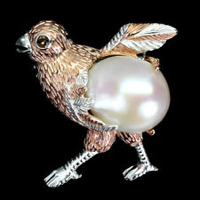 Round Sapphire 3mm White Pearl 925 Sterling Silver Bird Brooch