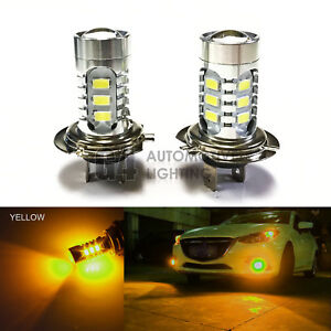 2x H7 LED Fog Light Bulbs 15W SMD 5730 12V High Power Bright DRL Golden Yellow