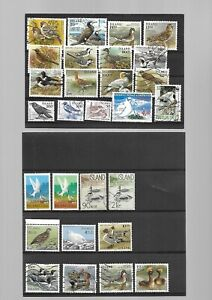 Iceland - Bird stamps on 2 stockcards - Mint & Used