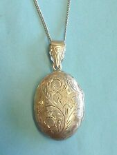 "Sterling Silver Floral Locket Pendant Necklace 925 15"" Short Chain"