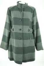 08079 Harve Bernard Gray Striped Long Coat Jacket Size XL