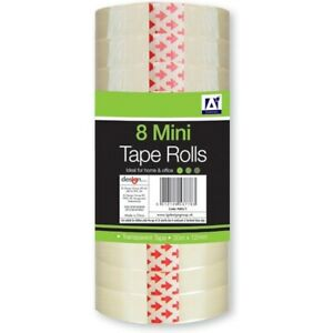 8 Transparent Mini Tape Rolls 30 meters X 12mm each Top Quality Branded Tape UK