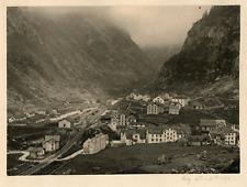 Suisse, Alpes, gare et ville à identifier  Vintage print,  Photomécanique