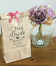 Personalised Paper Hen Favour Bag/ Wedding/Hen/Gift/Party & Ribbon TeamBride2019