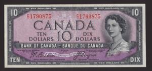Canada 🇨🇦 1954 - $10 Devil's Face Note - Beatie-Coyne Sig. - ***AU+ to UNC***