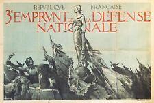 1917 French WWI War Bonds Poster, 3e emprunt, WWII French Propaganda, Horizontal