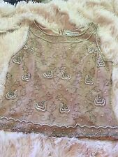 Adrianna Papell Occasions Tank Top 6 Silk Beaded Nude Pearls