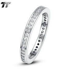 TT 2mm Full Circle RHODIUM 925 Sterling Silver Engagement Wedding Band Ring RW68