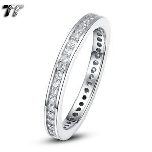 TT 2mm Full Circle RHODIUM 925 Sterling Silver Engagement Wedding Band Ring RW68
