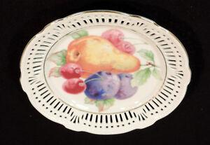 Schwarzenhammer reticulated fruit pattern desert plate embossed gold trim German