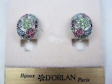 with Pastel Swarovski Crystals 0734 D'Orlan Rhodium Plated Oval Clip-on Earrings