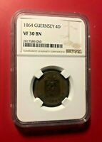 GUERNSEY 4 DOUBLES 1864 NGC VF 30 BN