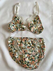 lace & floral bra & panty lingerie cacique set deadstock NOS womens size S/32
