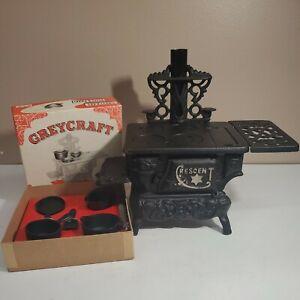 Crescent Vintage Toy Cast Iron Stove Salesman Sample with Greycraft Pots Pans