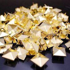 100 x Metal pyramid gold studs 15mm stud Rivet Punk spike spots Diy