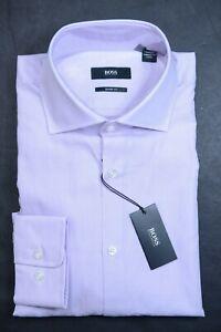 Hugo Boss Men's Miles Sharp Fit Pastel Purple Cotton Dress Shirt 44 17.5 34/35