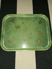 Vtg Fiberglass Serving Tray Gold Hand Painted Stork,Duck,Rooster, Bamboo,Fern