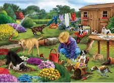 NEW! Otter House Garden Dogs by Simon Treadwell 1000 piece jigsaw puzzle