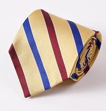 """New E.MARINELLA NAPOLI Yellow-Red-Blue Ribbon Stripe Classic 3.5"""" Silk Tie"""