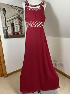 Amelia Maxi Dress Evening Red Chiffon Gown Size 18 Halter Neck Bridesmaid Beaded