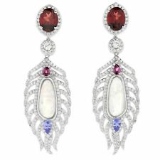 """Victoria Wieck Collection Sterling Silver 2.25"""" Multi Gemstone Feather Earrings"""