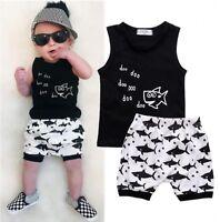 Newborn Toddler Baby Boys Summer Tops T-shirt Shorts Pants Outfits Clothes Set