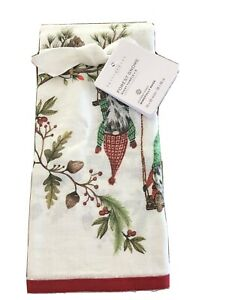 Pottery Barn Guest Towels Gnome Christmas Set Of 2 New