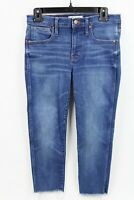 """Madewell Womens Size 28 Blue 9"""" High-Rise Skinny Cropped Denim Jeans Frayed High"""