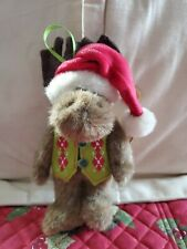 Boyds Plush Moose Ornament- St Nickelmoose w/ Vest And Hat tag # 4014686