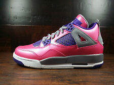 Air Jordan 4 Retro IV (Pink Foil/Cement/Electric Purple) [487724-607] GS Girls