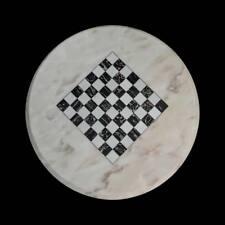 Tavolo da Scacchi in Marmo di Carrara Italian Marble Table Chess Board D.60cm