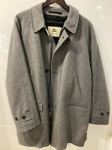 Burberry London Greay Wool and Cashmere Zip Front Coat M