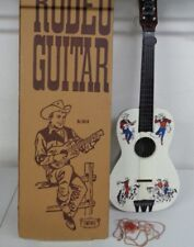 VINTAGE 1950'S EMENEE MUSICAL TOYS RODEO GUITAR COWBOY WESTERN WITH BOX NICE