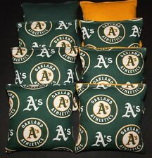 8 All Weather Cornhole Beanbags made w Oakland A's Fabric Aca Reg Bags