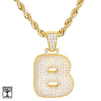 """Iced CZ Custom Bubble Letter B Initial Gold Plated Pendant 24"""" Chain Necklace"""