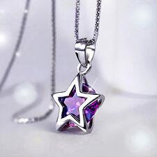Schöne Damen Versilbert silber Zirkon Sterne Kristall Anhänger Halskette CATH