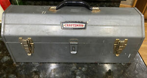 """Vintage Craftsman Steel """"Tombstone"""" Hip Roof Profile Toolbox Chest w/Tray"""