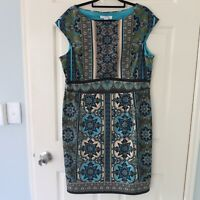 London Times dress size 18 green blue black paisley Aline evening corporate