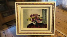 """Antique HAND COLORED ON GLASS PRINT, """"ROSES"""",#5285,Boston, Mass, 6""""x5-1/4"""""""