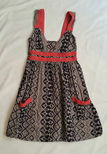 Cotton Blend Empire Waist Geometric Dresses for Women