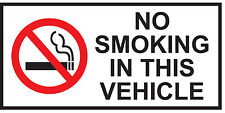 NO SMOKING - Vehicle/Taxi/Van/Bus/Car  Health & Safety Stickers 120 x 60 mm